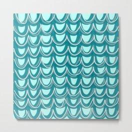 Mermaid Teal Pattern Metal Print