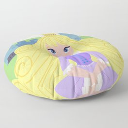 Fairy Tale Princess With Her Story Book Castle - Purple Dress Floor Pillow