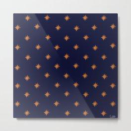 Blue Bronze Stars Pattern Metal Print