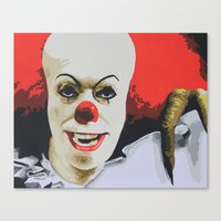 pennywise Canvas Prints featuring Pennywise the Clown from It. by MonkeyCatCreations