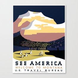 Vintage See America - Montana Travel Canvas Print
