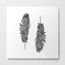 Two Black And White Feathers Bohemian Art Metal Print