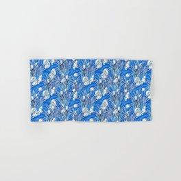 White Crocuses, Spring Flowers, Botanical Floral Pattern, Mariner Blue Hand & Bath Towel