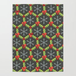 Holly Berries and Snowflakes Poster