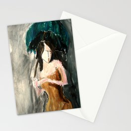 Woman With An Umbrella Stationery Cards