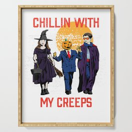 CHILLIN WITH MY CREEPS WITCH KAMALA TRUMP BIDEN HALLOWEEN ELECTION Serving Tray