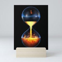 Old flame / 3D render of hourglass flowing liquid fire Mini Art Print