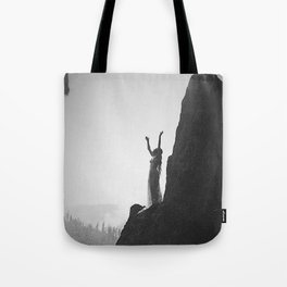 Incantation, A Goddess, mountain - canyon female form black and white photography by Anne Brigman  Tote Bag