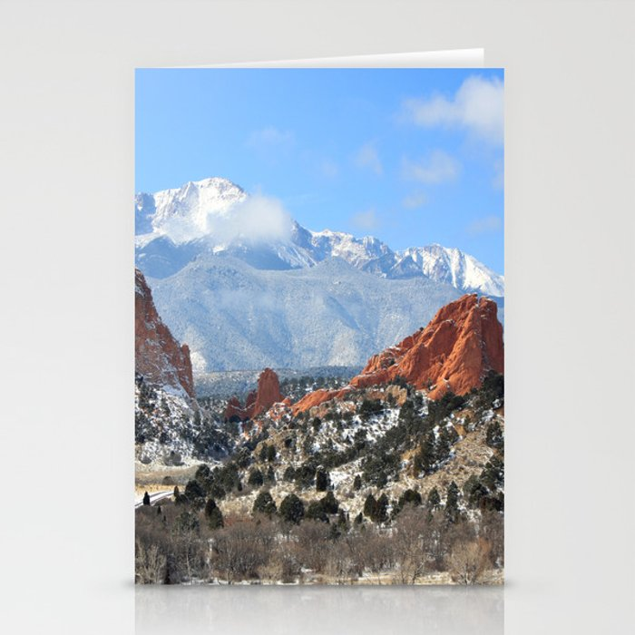 Snow at the Garden of the Gods, Colorado Springs Stationery Cards by  trinitybennett