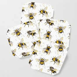 Fluffy Bumblebees (Pattern) Coaster