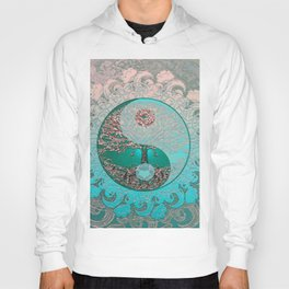 Pretty Chic Teal Tree of Life with Yin Yang and Heart Hoody