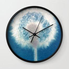 dandelion cyanotype print Wall Clock