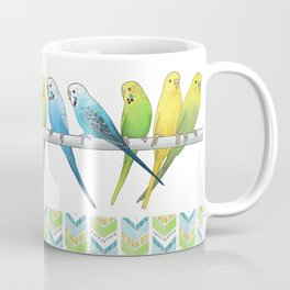 Row of Budgies Coffee Mug