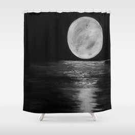 Full Moon, Moonlight Water, Moon at Night Painting by Jodi Tomer. Black and White Shower Curtain