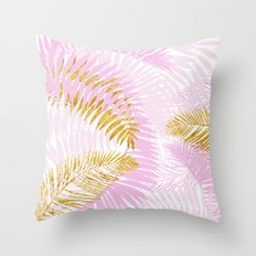 Aloha- Pink Tropical Palm Leaves and Gold Metal Foil Leaf Garden Throw Pillow