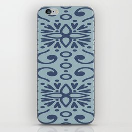 Dark Blue On Light Blue Boho Design iPhone Skin
