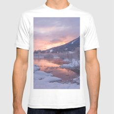 PINK LAKE / WHITE SNOW Mens Fitted Tee White MEDIUM