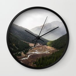 Clouds Rolling in Over Rocky Mountain Pass Wall Clock