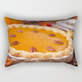 Homemade pumpkin pie on a rustic table with autumn decorations Rectangular Pillow