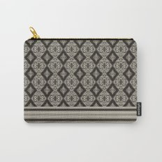 Monochrome Modern Aztec Diamond Mosaic and Waves Carry-All Pouch