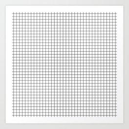 White Grid Black Line Art Print