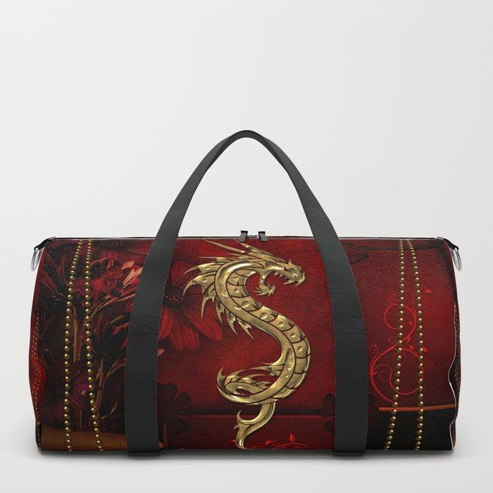 Wonderful golden chinese dragon Duffle Bag