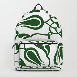 Green Turkish Traditional Floral Tile Art Backpack