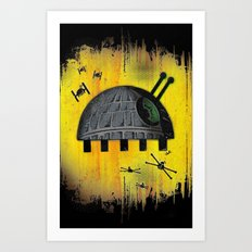 Death Star Bug – Yellow background Art Print