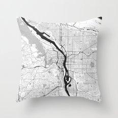 Portland Map Gray Throw Pillow