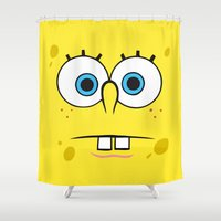 spongebob Shower Curtains featuring Spongebob Surprised Face by Cute Cute Cute