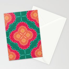 Pretty Chain Lozenge Pattern in Pinks on Teal Stationery Cards