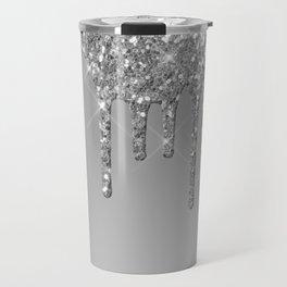 Gray & Silver Glitter Drips Travel Mug