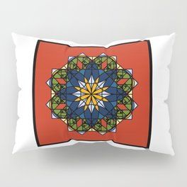 The Flower of Tradition - Colorful geometric flower with red as dominant, inside square frame.  Pillow Sham