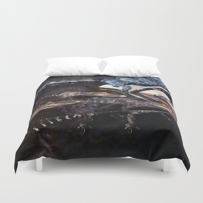 Falling Alligator Tank Of The Funky Newcomer Duvet Cover
