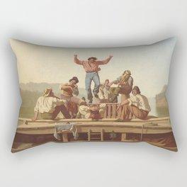 George Caleb Bingham The Jolly Flatboatmen 1846 Painting Rectangular Pillow