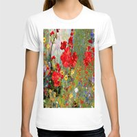 blankets T-shirts featuring Red Geraniums in Spring Garden Landscape Painting by SharlesArt