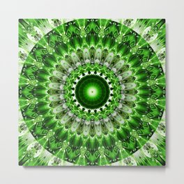 Mandala shining green Metal Print