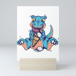 Tyrannosaurus baby with ice cream Mini Art Print