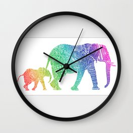 Rainbow Zentangle Elephant Wall Clock