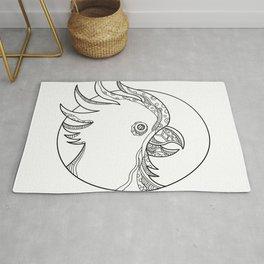 Cockatoo Head Circle Doodle Art Rug