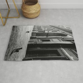 Two French Cats, Paris Left Bank black and white cityscape photograph / photography Rug