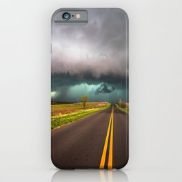 On the Road - Highway Leads to Intense Storm in Oklahoma iPhone Case