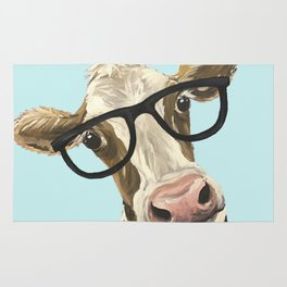 Cute Glasses Cow Up Close Cow With Glasses Rug