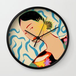 SMILING WOMAN AND SUNSHINE Wall Clock