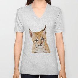 Baby Lynx, Bobcat Cub, Baby Animals Art Print By Synplus Unisex V-Neck