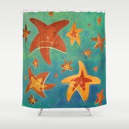 Starry Starfish Night Shower Curtain