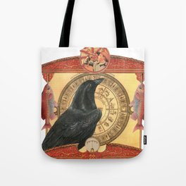 Crow with Goldfish Tote Bag