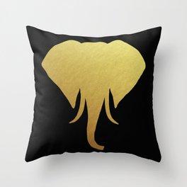 Golden Elephant Head Black Throw Pillow