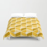yellow pattern Duvet Covers featuring Simple Pattern Yellow by DONIKA NIKOVA - Art & Design
