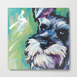 Fun Schnauzer Dog Portrait bright colorful Pop Art Painting by LEA Metal Print